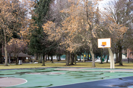 alene: Basketball court at the City park in Coeur d  Alene Stock Photo