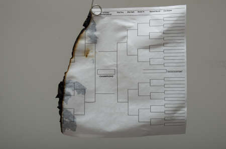 burnt up college tournament bracket Stock Photo - 27549557