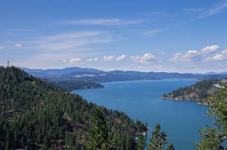 View from Mineral Ridge park of Coeur d  Alene Lake photo