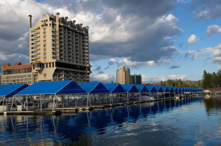 Coeur d  Alene Resort viewed from the floating boardwalk,  the longest floating boardwalk in the world