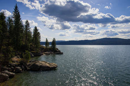beautiful lake Coeur d  Alene on a spring day