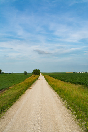 Rural dirt road in Central Illinois countryside. Stock fotó