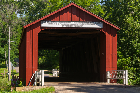 Red Covered Bridge.  The oldest covered bridge in Illinois built in 1863.  Princeton, Illinois, USA