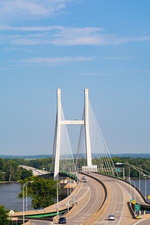 The Great River Bridge over the Mississippi in Burlington, Iowa. Stock Photo