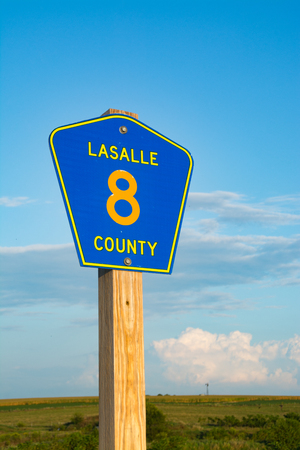 LaSalle County highway sign on rural highway.  LaSalle County, Illinois, USA