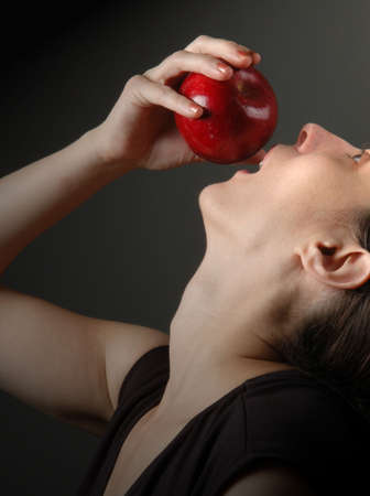 arched neck: woman with apple, profile