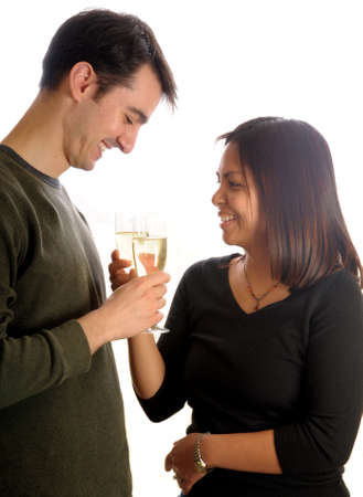 young couple, champagne toast photo
