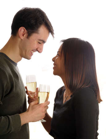 young couple in love, drinking champagne