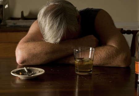 crossed cigarette: depressed and drunk