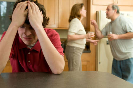 Boy agonizes as parents fight Stock Photo - 4409752