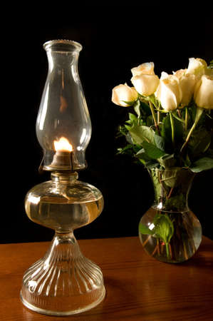 oil lamp with roses
