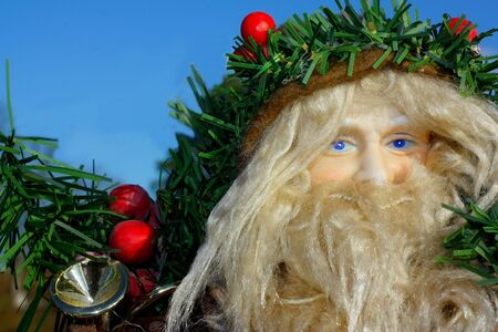 Closeup portrait of Old Saint Nicholas doll showing full beard