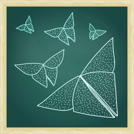 hairline: Chalkboard with drawing of origami butterflies in hairline outline style. Illustration