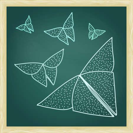 papillon: Tableau avec le dessin de papillons en origami dans le style de contour d�li�.