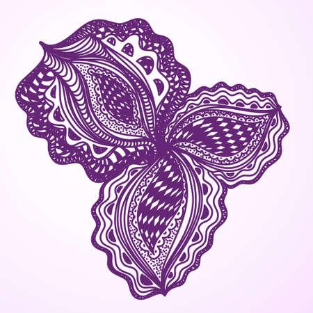 Violet abstract floral element for decorative design