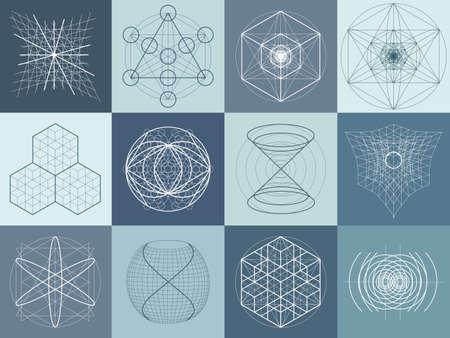 geometra: símbolos de geometría sagrada y elementos fijados. 12 en 1. Alchemy, religión, filosofía, astrología y espiritualidad temas