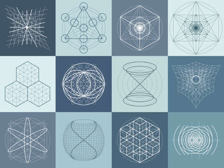 geometry: Sacred geometry symbols and elements set. 12 in 1. Alchemy, religion, philosophy, astrology and spirituality themes