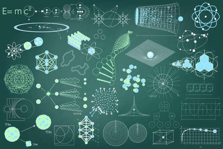 symbols: Big collection of elements, symbols and schemes of physics, chemistry and sacred geometry. The science theme.