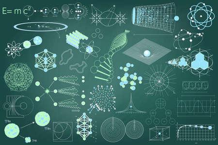 Grote verzameling van elementen, symbolen en schema's van natuurkunde, scheikunde en heilige geometrie. De wetenschap thema. Stock Illustratie