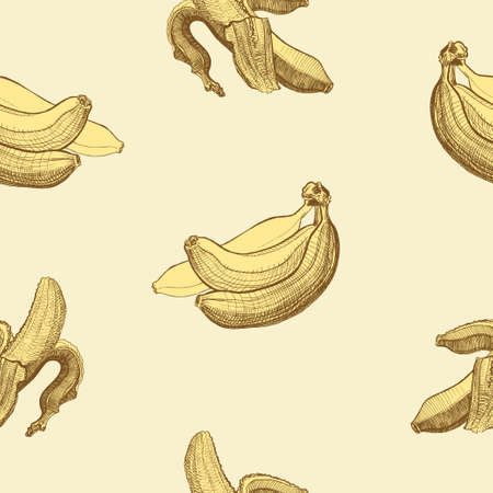 agriculture wallpaper: Seamless wallpaper pattern with bananas engraving drawing. Fruit and food themes. Good for wallpaper, textile, background, design of wedding invitation, poster, cover of book, post cards