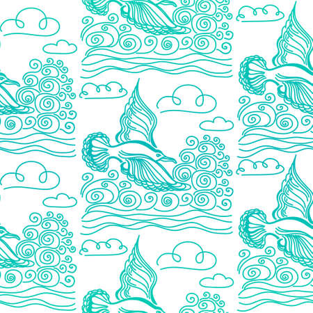 sea bird: Summer sea seamless pattern. Illustration of bird seagull, sky and waves. Used for wallpaper, textile, background