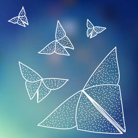 hairline: Drawing of origami butterflies in hairline style