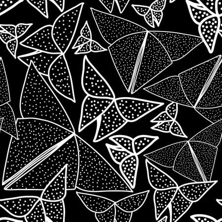Pattern with beautiful origami butterflies drawing. Seamless background texture Illustration