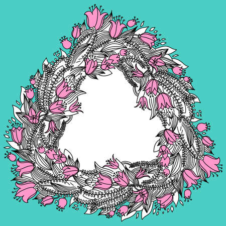 campanula: Hand drawn vintage wreath with flowers and central copy space for your text