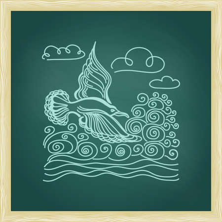 sea bird: Illustration of bird seagull, sky and waves. Summer sea banner. Green chalkboard with frame