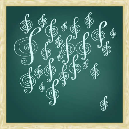 cerulean: Drawing of music treble clef on green chalkboard with frame.