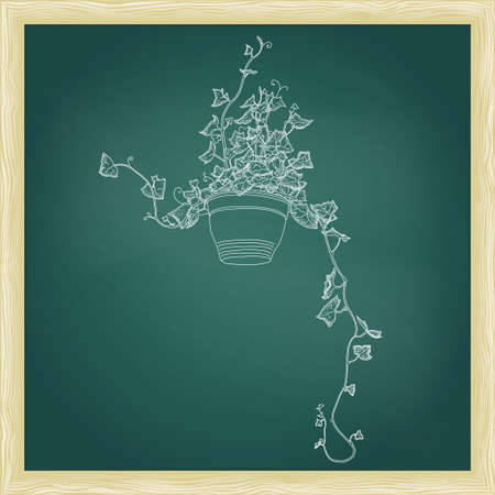 green chalkboard: Drawing of green ivy in flowerpot. Abstract vector template. Green chalkboard with frame Illustration