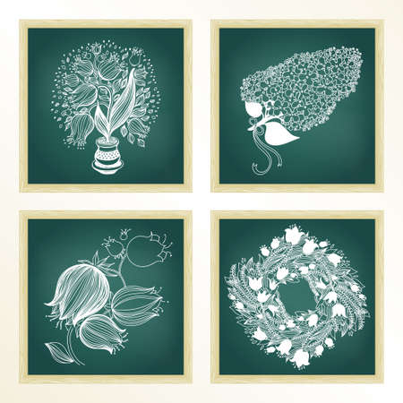 campanula: Garden set with 4 plants in chalkboard: tulip, bluebell, lilac and campanula. Green chalkboard with frame. Design template. 4 in 1. Illustration