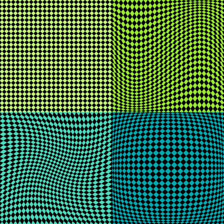 checkerboard backdrop: Chess board squares distortion vector seamless pattern set. 4 in 1 Illustration