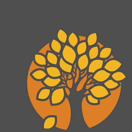 autumn tree: Stylized abstract orange defoliation tree illustration. Ecology, autumn season and garden theme