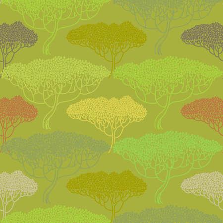 autumn tree: Stylized abstract autumn tree illustration. Wallpaper seamless pattern. Ecology and garden theme