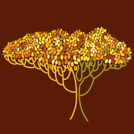 defoliation: Stylized abstract orange defoliation tree illustration. Ecology, autumn season and garden theme