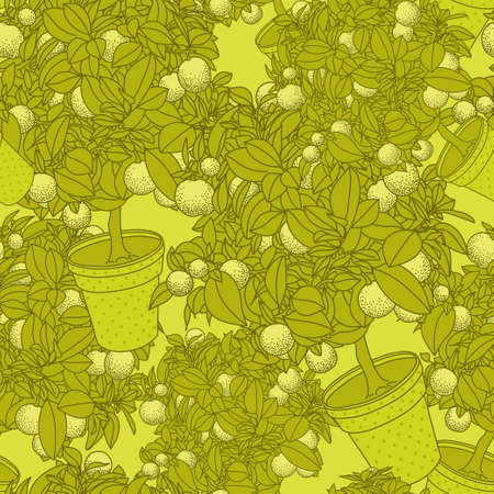 citrus tree: Lemon citrus tree in pot. Wallpaper seamless pattern Illustration