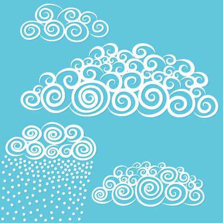 stylize: Vector hand-drawn stylize cute curly clouds template