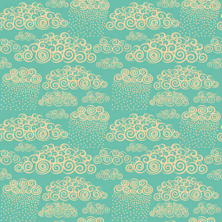 stylize: Blue sky with hand drawn stylize cute curly clouds. Wallpaper seamless pattern