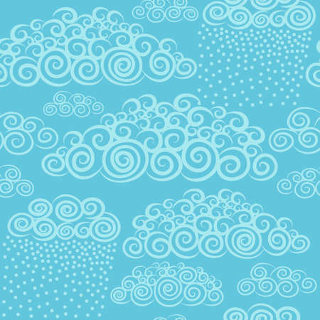 stylize: Vector hand-drawn stylize cute curly clouds. Wallpaper seamless pattern