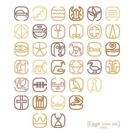 Egipto icono de conjunto de símbolos con una gran cantidad de símbolos tales como Pyramides, vistas, skorabey, Pharaons, personajes antiguos