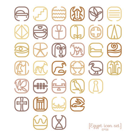 archeology: Egypt symbol icon set with a lot of symbols such as pyramides, sights, skorabey, pharaons, ancient characters