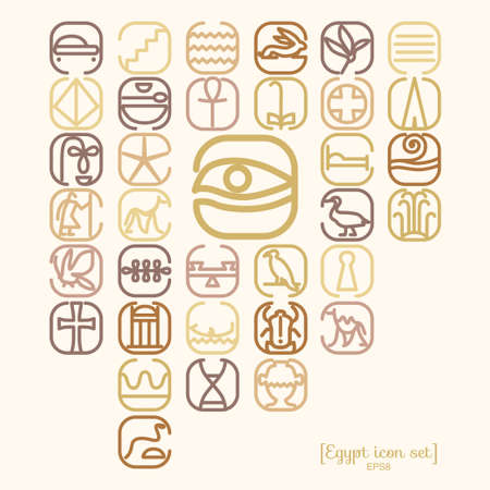 Egipto icono de conjunto de símbolos con una gran cantidad de símbolos tales como pirámides, monumentos, skorabey, faraones, personajes antiguos.