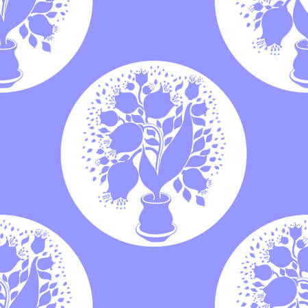 campanula: Seamless pattern with stylize silhouettes of tulips in a pot. Good for wallpaper and textile. Illustration