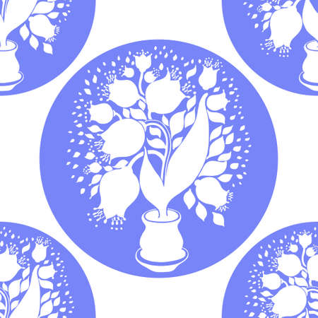 stylize: Seamless pattern with stylize silhouettes of tulips in a pot. Good for wallpaper and textile. Illustration
