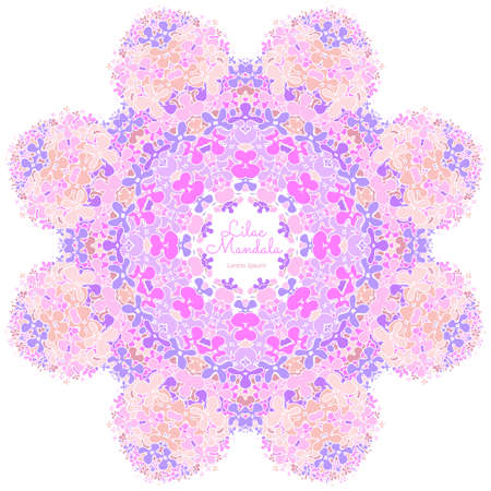 post cards: Amazing mandala of lilac flowers. Good for design of wedding invitation, poster, cover of book, post cards. Spring and summer theme of illustration