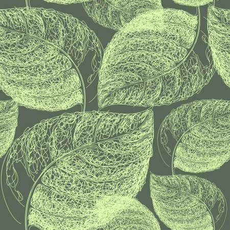 Autumn hand drawn leaf. Wallpaper seamless pattern background