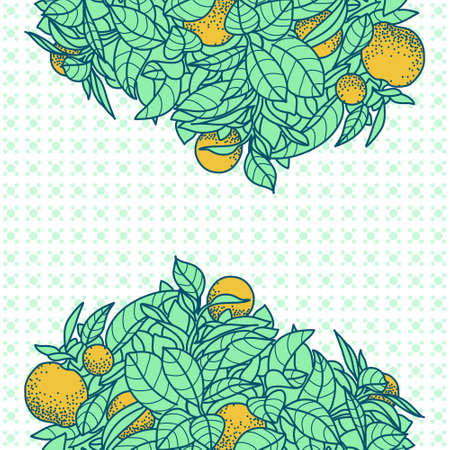 tangerine: Card with drawing of a small tangerine tree in a pot in contour style. Background for design of banner, card, poste, calendars, identity, web