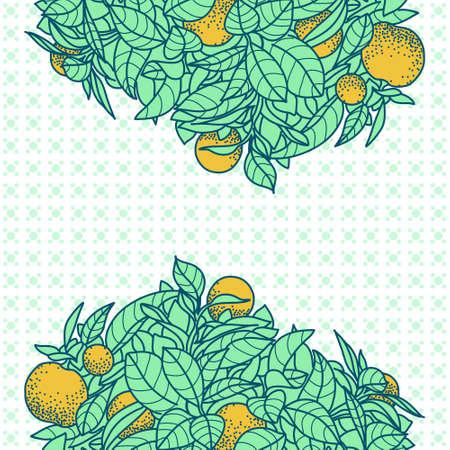 Carta con il disegno di un piccolo albero di mandarino in un vaso in stile contorno. Sfondo per il design di banner, carta, poste, calendari, identità, web