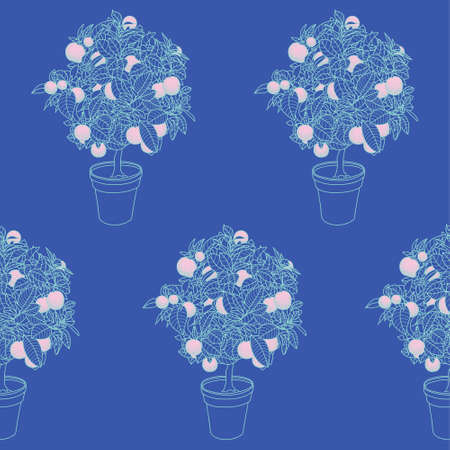 tangerine: Seamless pattern of small tangerine tree in a pot in contour style. Good wallpaper for website, package, poster, textile. Illustration